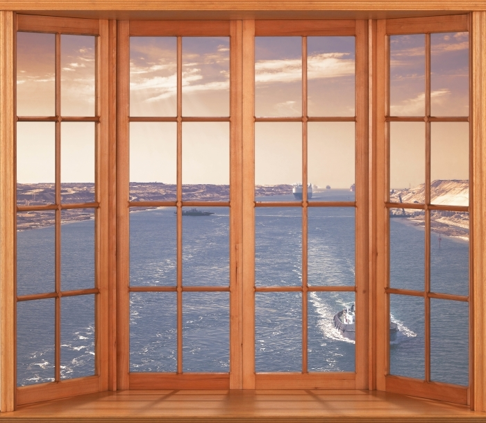Papier peint vinyle Terrasse - Le long de la rivière - La vue à travers la fenêtre