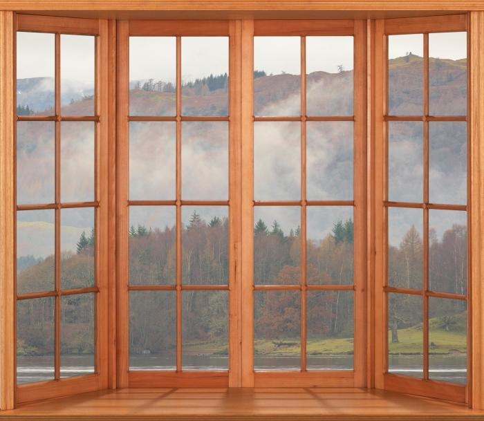 Papier peint vinyle Terrasse - Lake District - La vue à travers la fenêtre