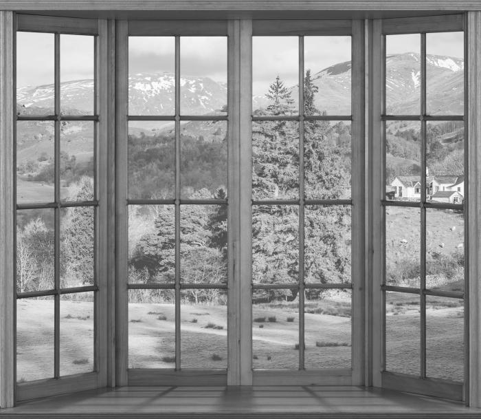 Fototapeta winylowa Taras - Lake District - Widok przez okno