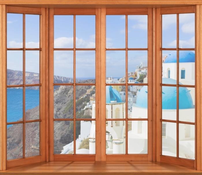 Papier peint vinyle Terrasse - Paysage de Santorin - La vue à travers la fenêtre