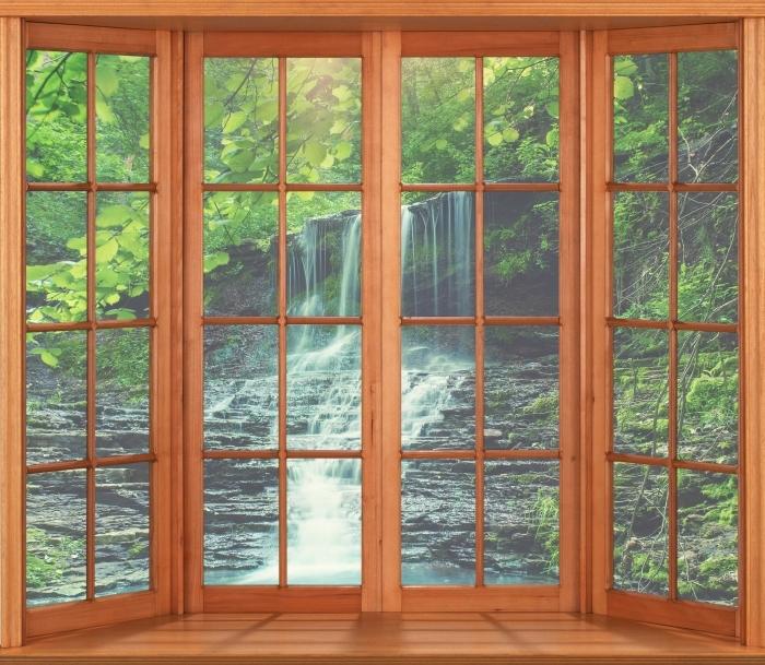 Papier peint vinyle Terrasse - Cascade - La vue à travers la fenêtre