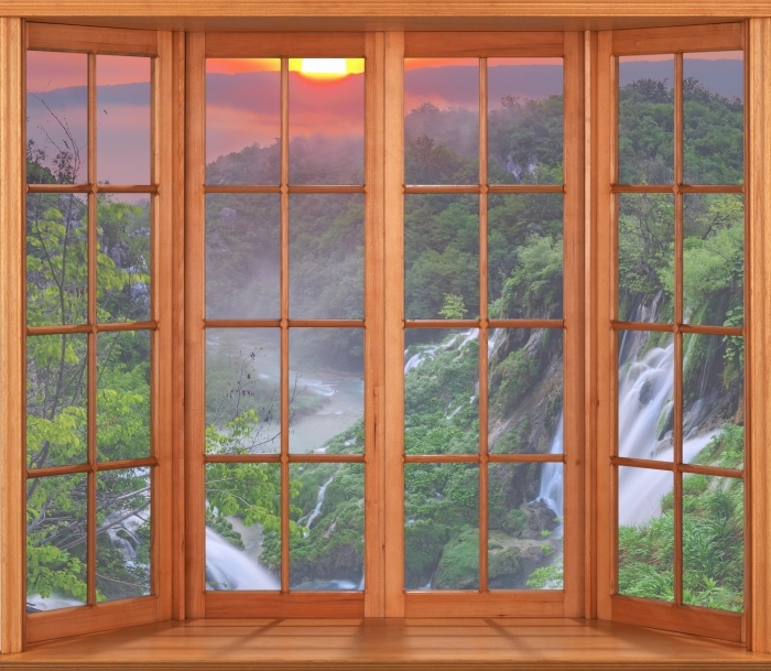 Sticker Pixerstick Terrasse - Sunrise. Croatie. - La vue à travers la fenêtre