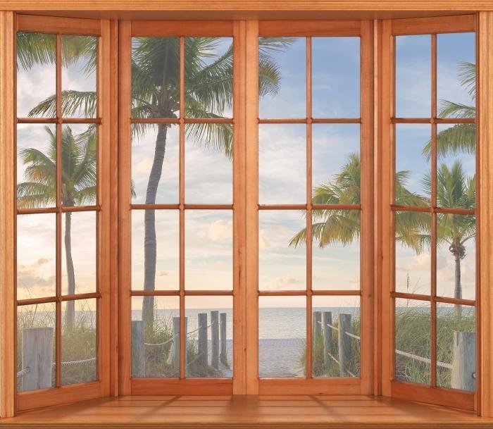 Papier peint vinyle Terrasse - Panorama - La vue à travers la fenêtre