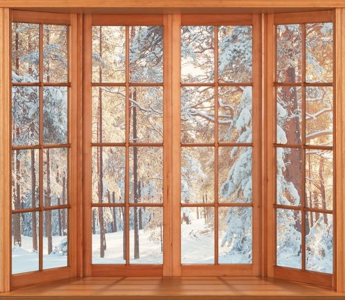 Papier peint vinyle Terrasse - pins couverts de neige - La vue à travers la fenêtre