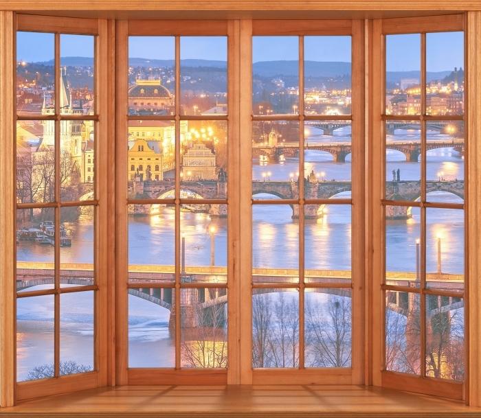 Papier peint vinyle Terrasse - Prague - La vue à travers la fenêtre