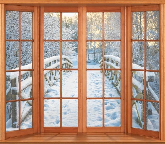 Vinyl-Fototapete Terrasse - Winterbrücke - Blick durch das Fenster