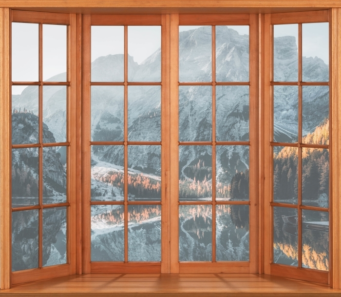 Fototapeta winylowa Taras - Łodzie. Góry Dolomity - Widok przez okno