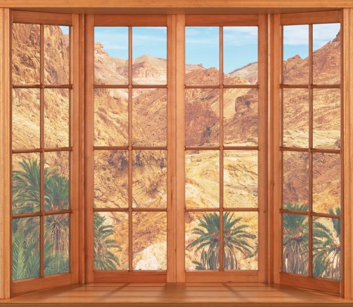 Vinyl-Fototapete Terrasse - Bergoase - Blick durch das Fenster