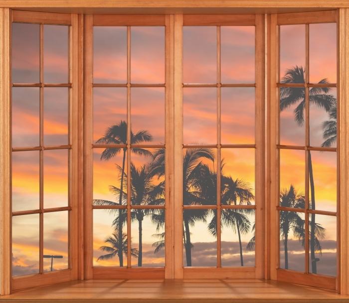 Vinyl-Fototapete Terrasse - Hawaii - Blick durch das Fenster