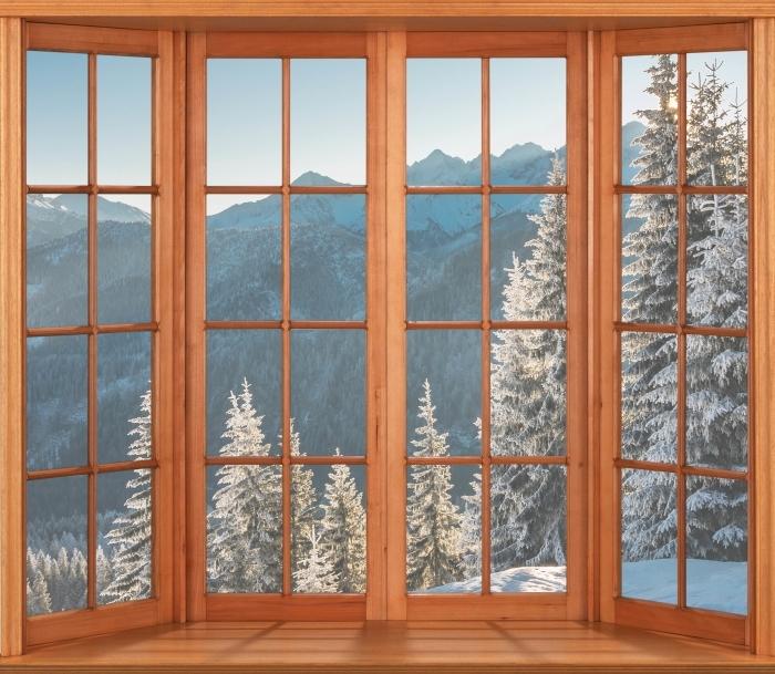 Papier peint vinyle Terrasse - Tatry - La vue à travers la fenêtre