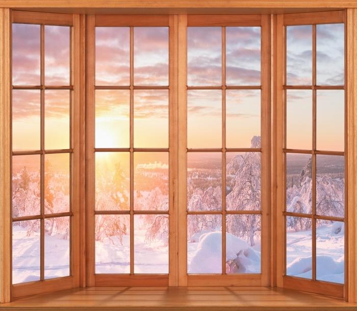 Papier peint vinyle Terrasse - coucher du soleil Scandinavie - La vue à travers la fenêtre