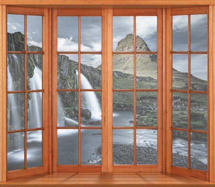 Papier peint vinyle Terrasse - Cascade. Islande. - La vue à travers la fenêtre