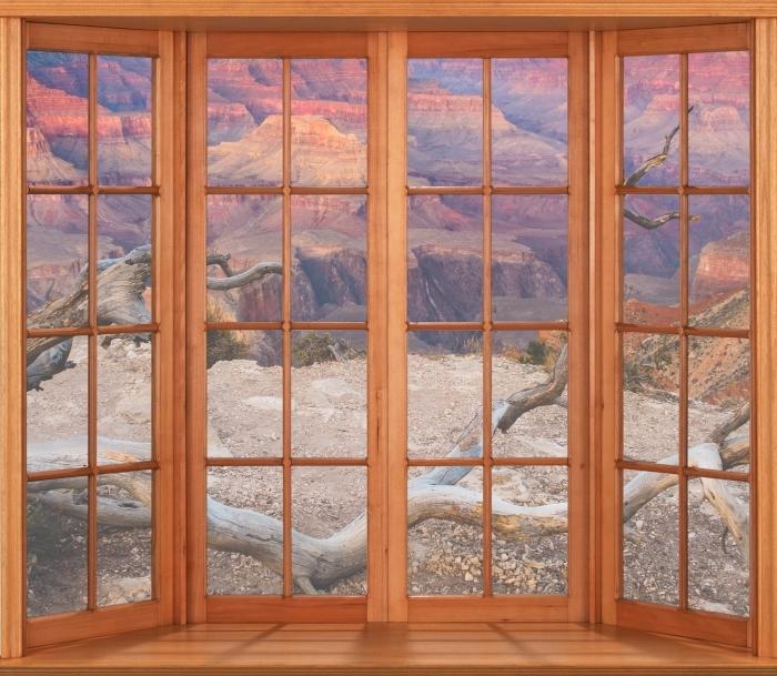 Papier peint vinyle Terrasse - Grand Canyon - La vue à travers la fenêtre