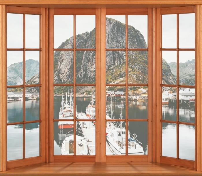 Papier peint vinyle Terrasse - Paysage. Norvège - La vue à travers la fenêtre