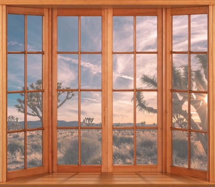 Papier peint vinyle Terrasse - Coucher de soleil. Désert. Californie. - La vue à travers la fenêtre