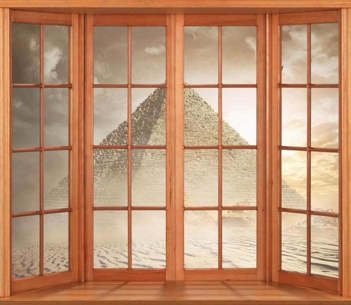 Papier peint vinyle Terrasse - Désert - La vue à travers la fenêtre