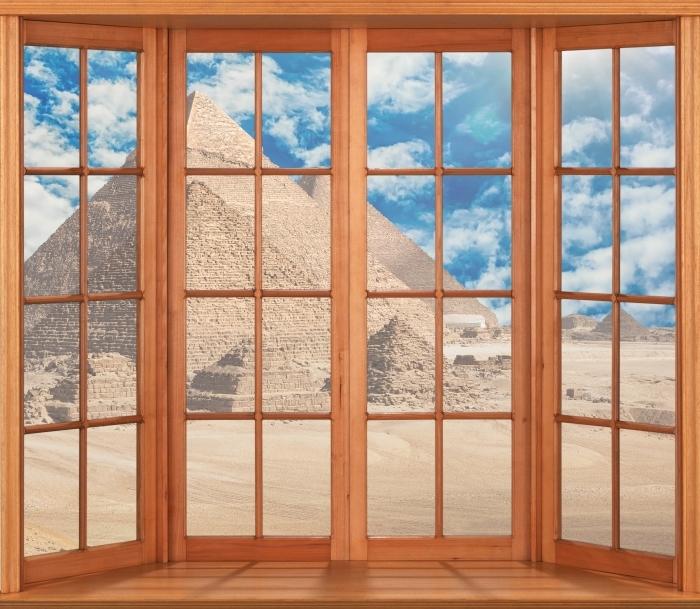 Papier peint vinyle Terrasse - Egypte - La vue à travers la fenêtre