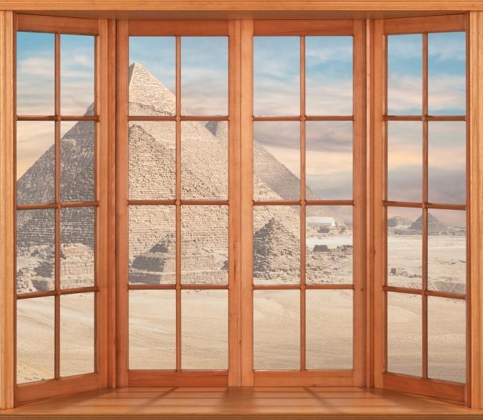 Vinil Duvar Resmi Teras - Mısır - Pencere manzarası