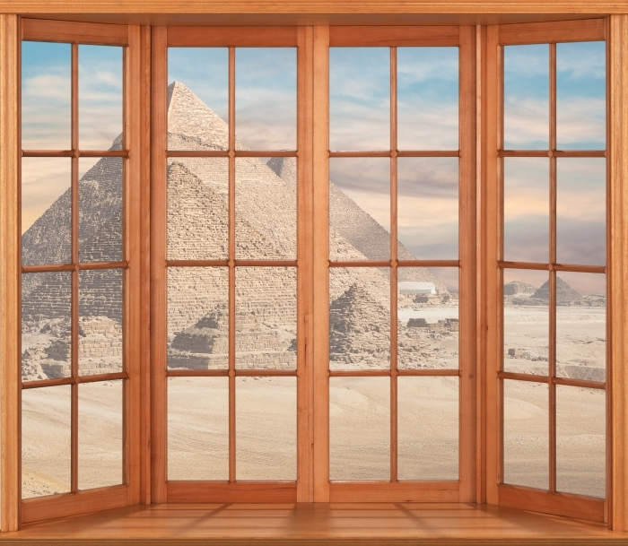 Vinyl Fotobehang Terras - Egypte - Uitzicht door het raam