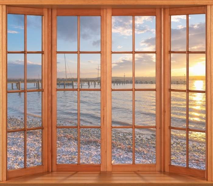 Vinyl-Fototapete Terrasse - Mara - Blick durch das Fenster