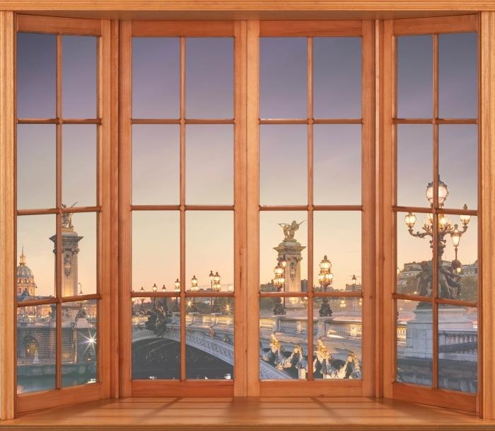 Papier peint vinyle Terrasse - pont à Paris - La vue à travers la fenêtre