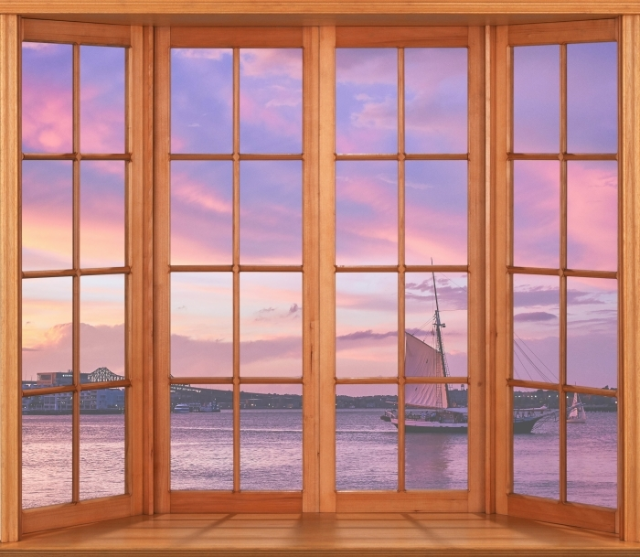Papier peint vinyle Terrasse - coucher du soleil incroyable au port de Boston - La vue à travers la fenêtre