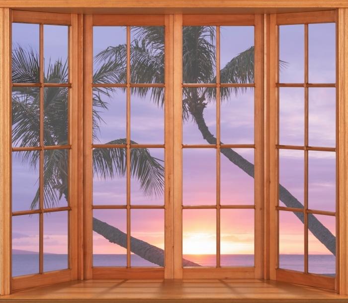Fototapeta winylowa Taras - Palmy - Widok przez okno