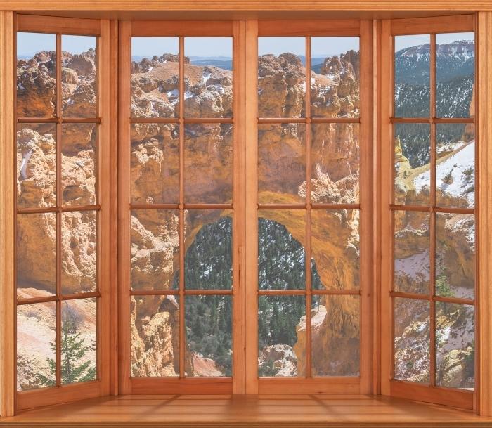 Papier peint vinyle Terrasse - Canyon - La vue à travers la fenêtre