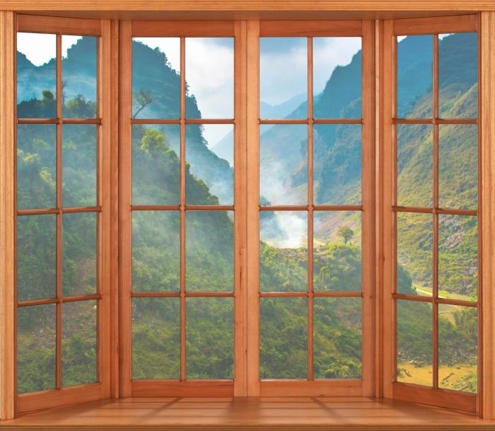 Papier peint vinyle Terrasse - Ha Giang. Vietnam. - La vue à travers la fenêtre
