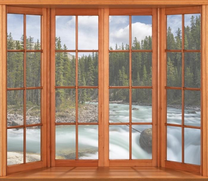 Vinyl-Fototapete Terrasse - Kanada - Blick durch das Fenster