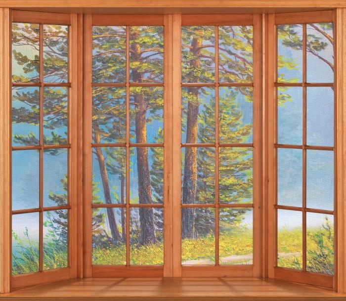 Papier peint vinyle Terrasse - forêt d'été - La vue à travers la fenêtre