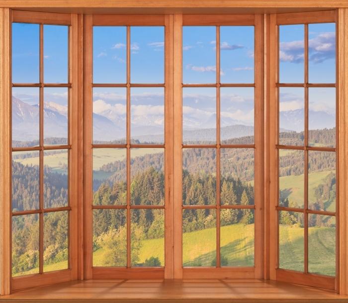 Papier peint vinyle Terrasse - Pieniny. Pologne. - La vue à travers la fenêtre