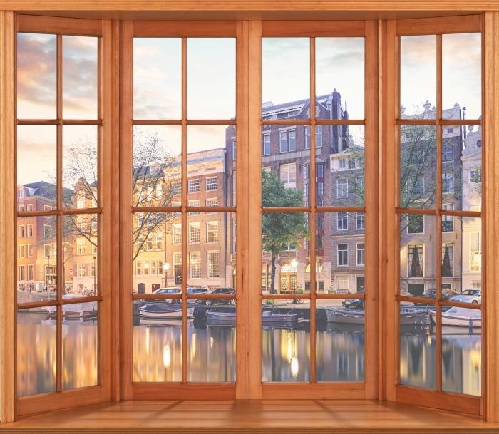 Papier peint vinyle Terrasse - Amsterdam. Pays-Bas. - La vue à travers la fenêtre