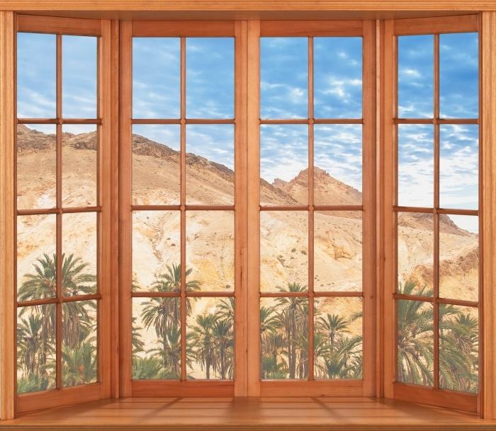 Carta da Parati in Vinile Terrazza - oasi di montagna - Vista attraverso la finestra