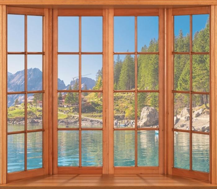 Papier peint vinyle Terrasse - lac bleu. Suisse. - La vue à travers la fenêtre