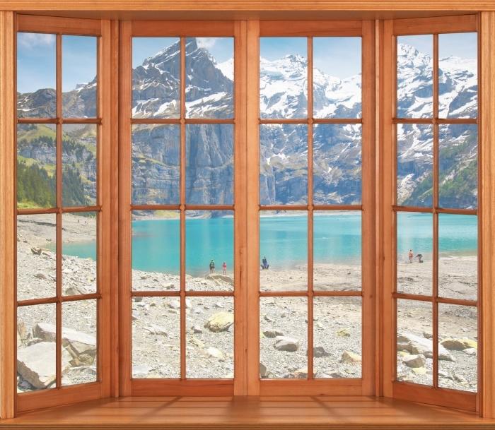 Carta da Parati in Vinile Terrazza - Lago. Svizzera - Vista attraverso la finestra