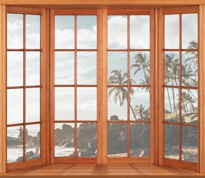 Fototapeta winylowa Taras - Palmy. Hawaje. - Widok przez okno