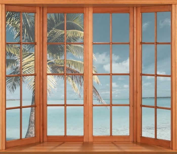 Papier peint vinyle Terrasse - cuisine Palm Island arbre - La vue à travers la fenêtre