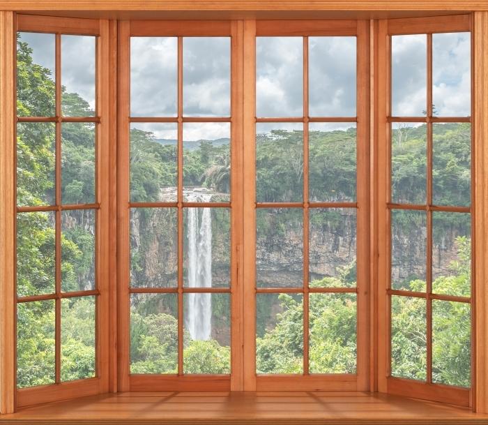 Pixerstick Aufkleber Terrasse - Wasserfall - Blick durch das Fenster