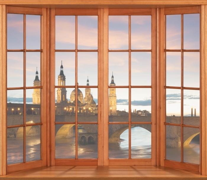 Papier peint vinyle Terrasse - cathédrale. Espagne. - La vue à travers la fenêtre