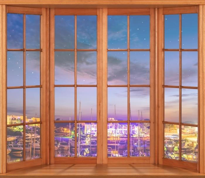 Vinyl Fotobehang Brown opende het raam - Mallorca. - Uitzicht door het raam