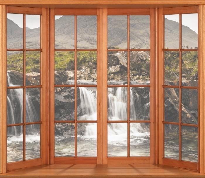 Fototapeta winylowa Taras - baseny Fairy - Widok przez okno