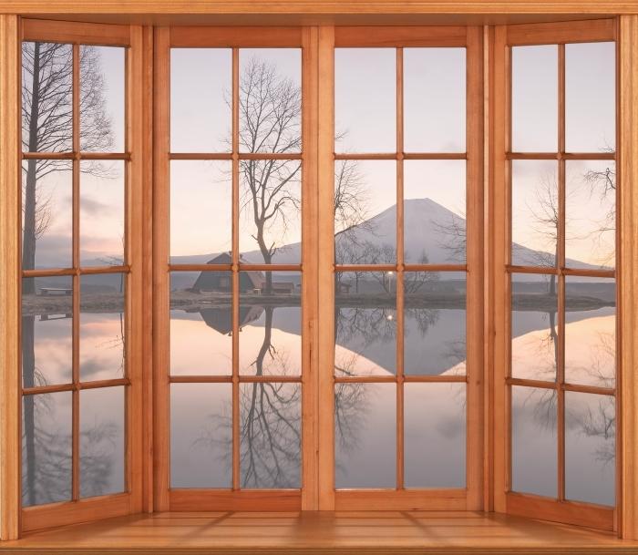 Fototapeta winylowa Taras - Góra Fuji - Widok przez okno