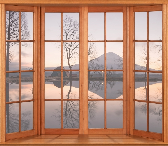 Papier peint vinyle Terrasse - Mont Fuji - La vue à travers la fenêtre