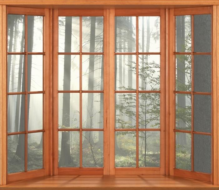 Papier peint vinyle Terrasse - forêt de conifères un jour d'automne brumeux - La vue à travers la fenêtre