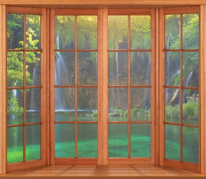Papier peint vinyle Terrasse - Lacs de Plitvice. Croatie. - La vue à travers la fenêtre