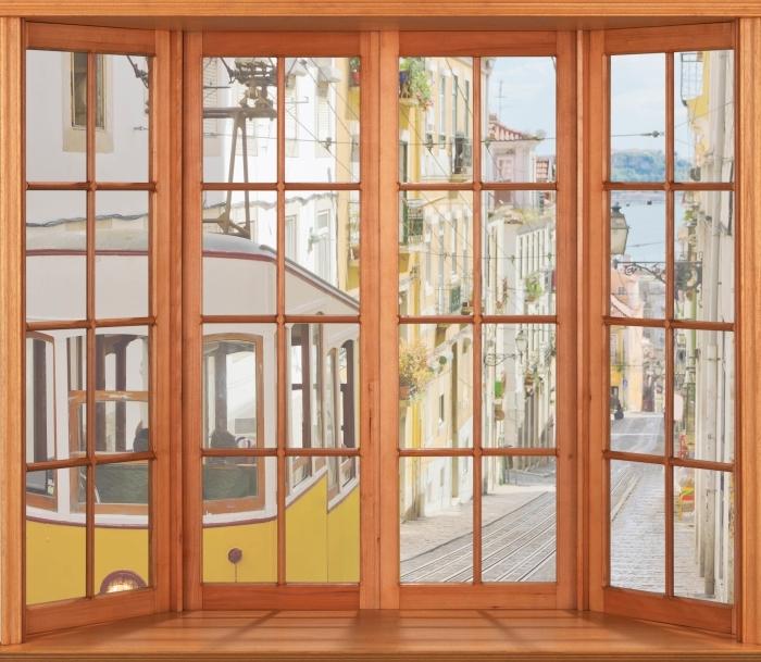 Fototapeta winylowa Taras - Lizbona. - Widok przez okno