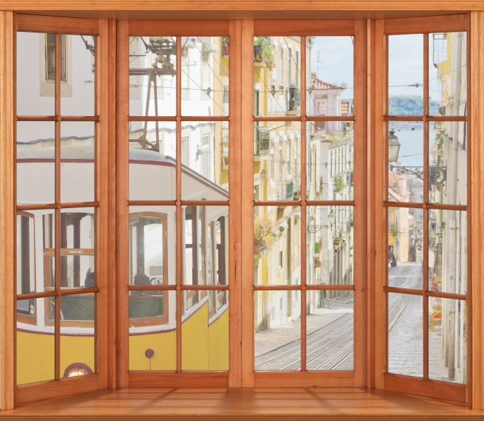 Papier peint vinyle Terrasse - Lisbonne. - La vue à travers la fenêtre