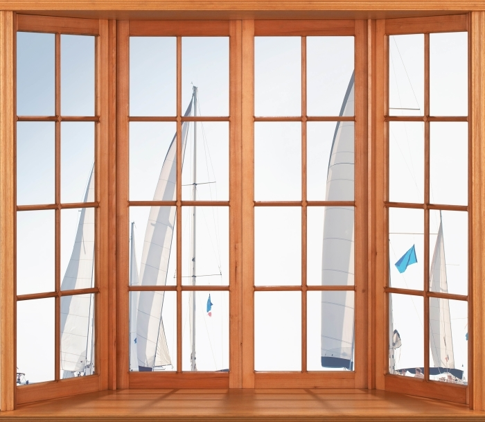 Papier peint vinyle Terrasse - yachts à voiles blanches - La vue à travers la fenêtre