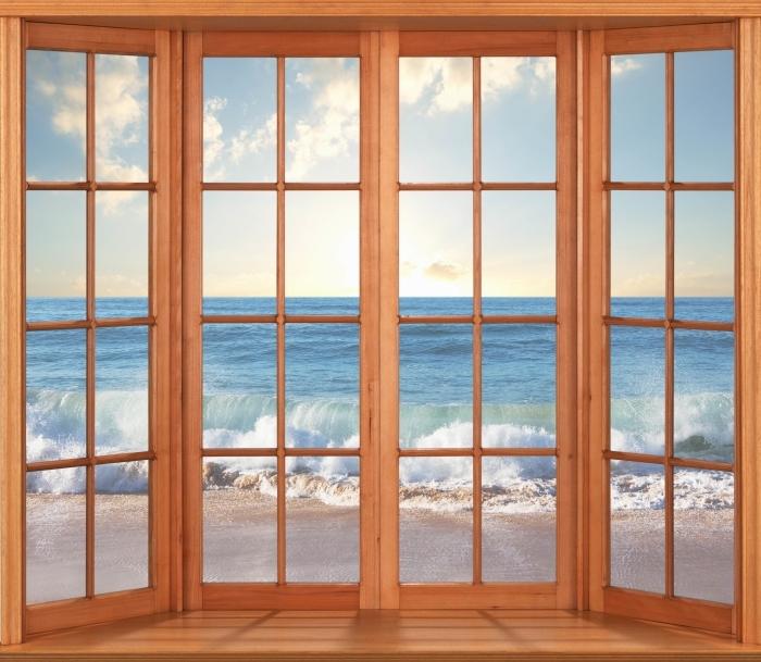 Papier peint vinyle Terrasse - Mer. Coucher du soleil. - La vue à travers la fenêtre
